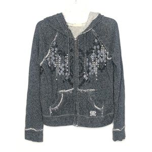 Miss Me gray studded hoodie Size S